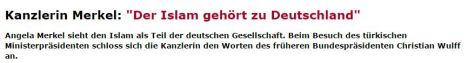 Angela Merkel zum Islam in Deutschland, Schlagzeile aus dem SPIEGEL. Januar 2015