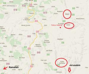 Die Orte auf der Karte