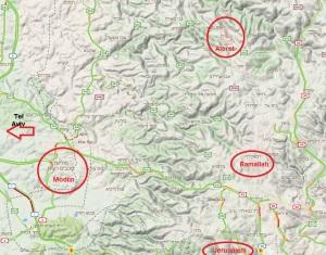 Ateret, Modiin, und auch Jerusalem und Ramallah - alles auf einer Karte