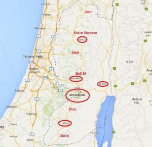 Judäa und Samaria - Westjordanland. Zentrale Orte in Rot/eingekreist. Oben: Samaria. Unten: Judäa.