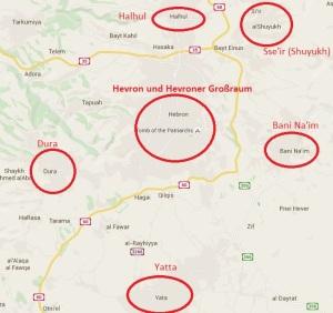 Terroregion Großraum Hevron - Karte