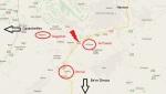 Der Terrorort und die Gegend auf der Karte