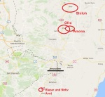Amona, Ofra, Shiloh, Netiv Avot auf der Karte