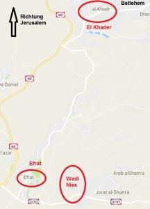 Wo liegen Wadi Niss, El Khader und Efrat?